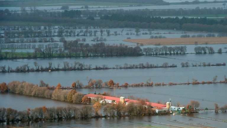 Flooded fields are pictured in Xinzo de Limia, following heavy rains over northwestern Spain
