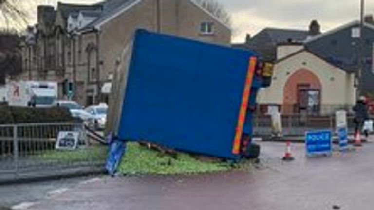 The trailer overturned and shed a load of sprouts