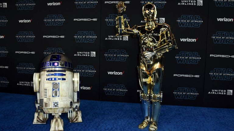 The droids at the Rise of Skywalker premiere