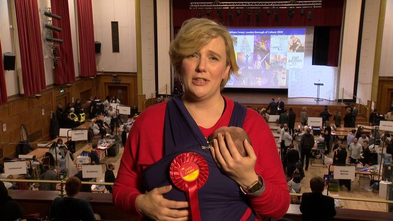 Labour MP Stella Creasy appears in live interview with two-week-old baby