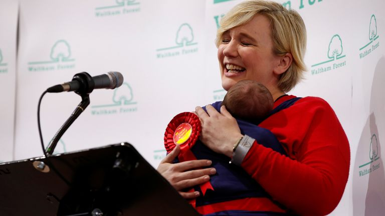 Labour candidate for Walthamstow Labour candidate for Walthamstow Stella Creasy carries her baby daughter as she celebrates winning in Britain's general election in Waltham Forest Town Hall