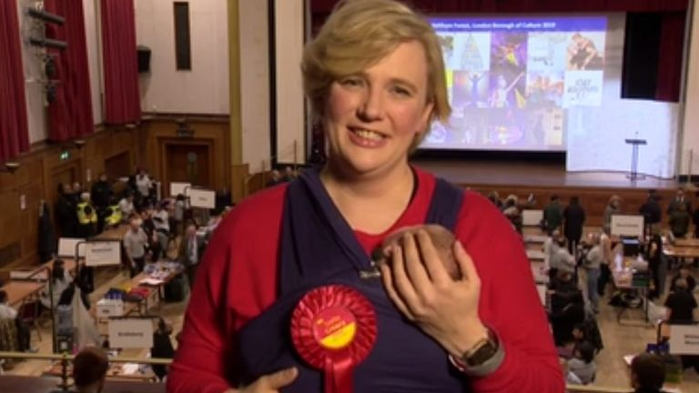 Stella Creasy joked to Sky News that her two-week old daughter 'started heckling' her during her acceptance speech