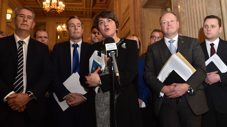 Arlene Foster speaking after a meeting of the Stormont Assembly on abortion rights and gay marriage in October