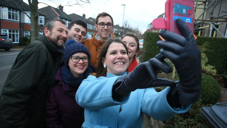 Jo Swinson takes a selfie in Sheffield