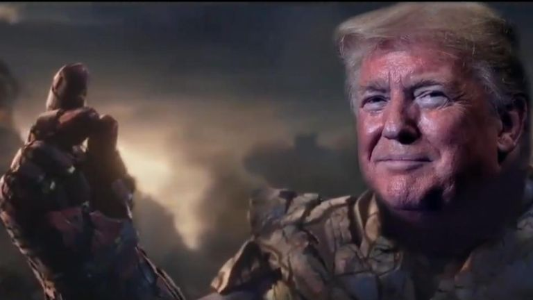 The doctored clip superimposes the president's head on the body of Thanos