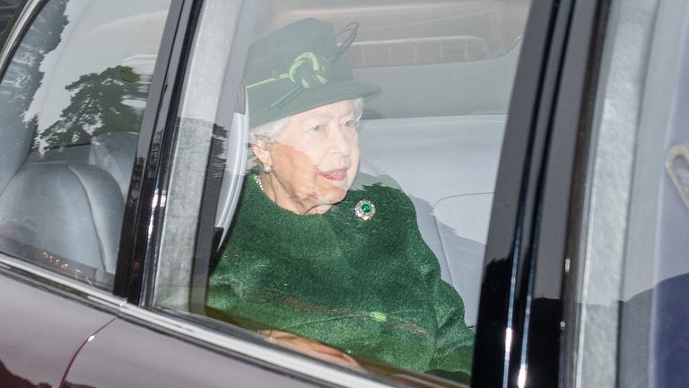 The Queen attended a church service at St Mary Magdalene Church in Sandringham