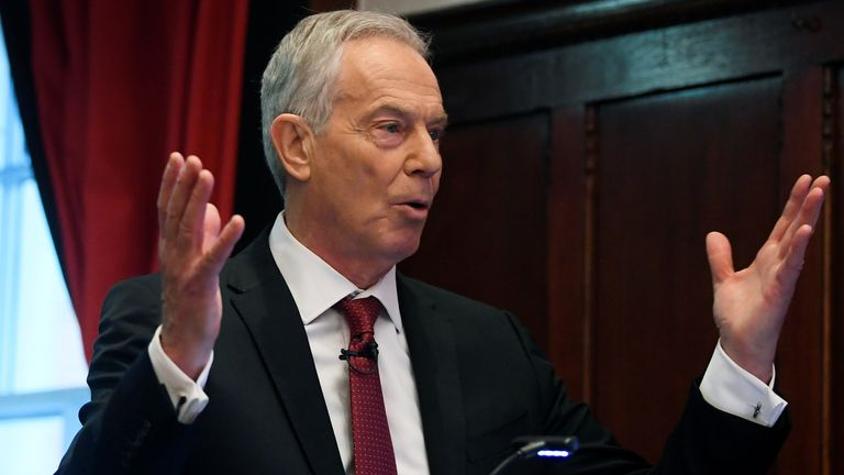Tony Blair speaks at the Hallam Conference Centre in London