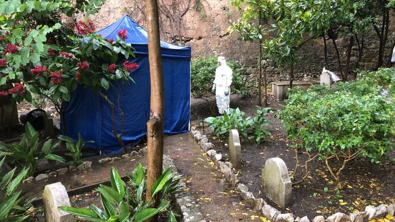 Forensics tests have been carried out at Trafalgar Cemetery