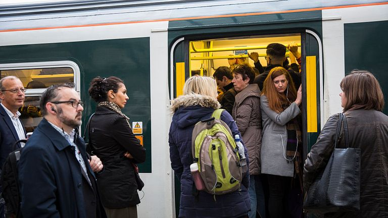 LONDON, ENGLAND - OCTOBER 18: Commuters packed on to a Southern rail train wait to leave East Croydon station on October 18, 2016 in London, England. Staff at Southern rail have begun a second three-day strike over plans for drivers, instead of conductors, to operate train doors. The action will see hundreds of trains cancelled and other services affected as a result. (Photo by Jack Taylor/Getty Images)