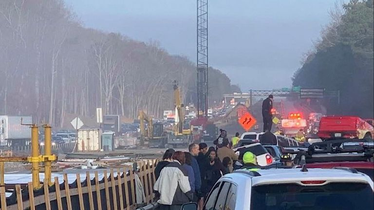 Sixty-nine cars were involved in the crash