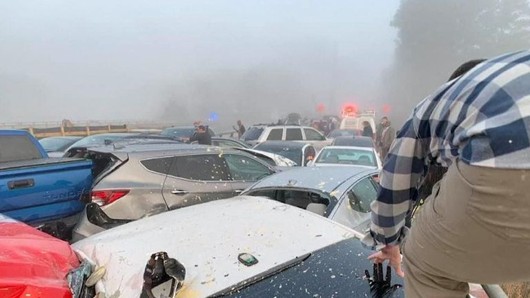Drivers had to climb over other cars to get out of the pile-up