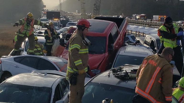 Emergency workers had to climb over cars to free people from their vehicles. Pic: York-Poquoson Sheriff's Office