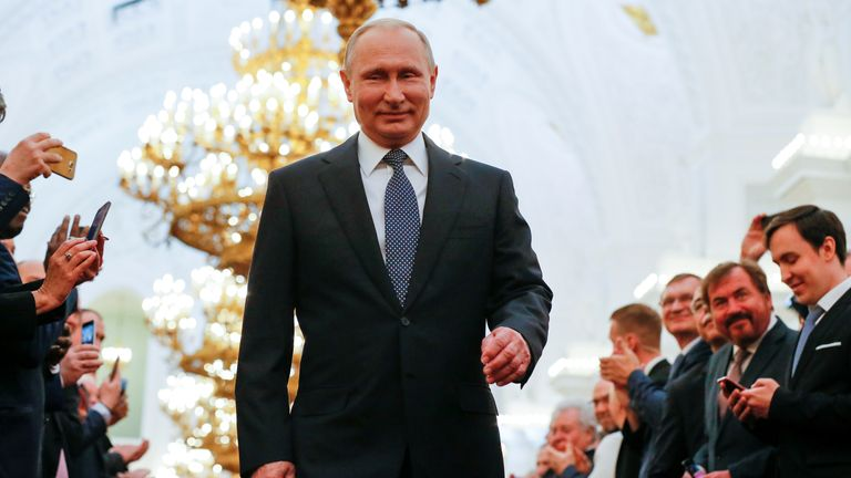 Vladimir Putin at an inauguration ceremony at the Kremlin in Moscow, 2018