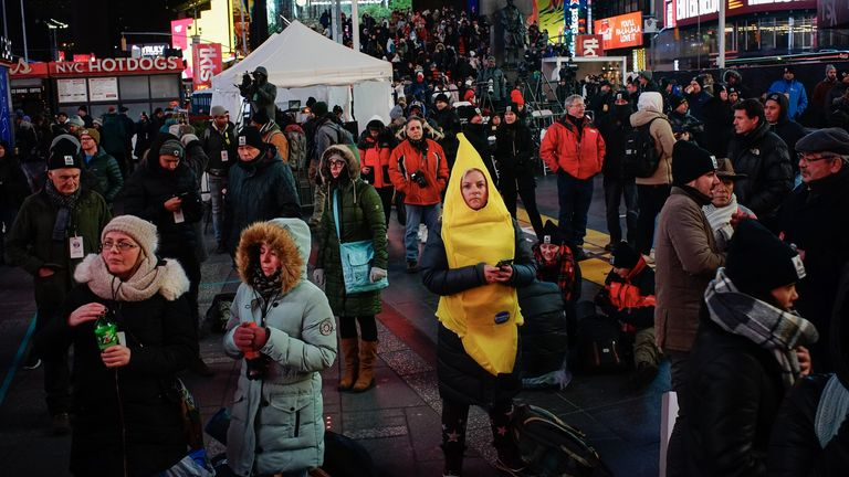 People take part in The Worlds Big Sleep Out event in Time Square