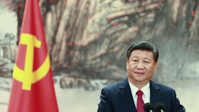 Chinese President Xi Jinping speaks at the podium during the unveiling of the Communist Party's new Politburo Standing Committee at the Great Hall of the People on October 25, 2017 in Beijing, China. China's ruling Communist Party today revealed the new Politburo Standing Committee after its 19th congress. (Photo by Lintao Zhang/Getty Images)