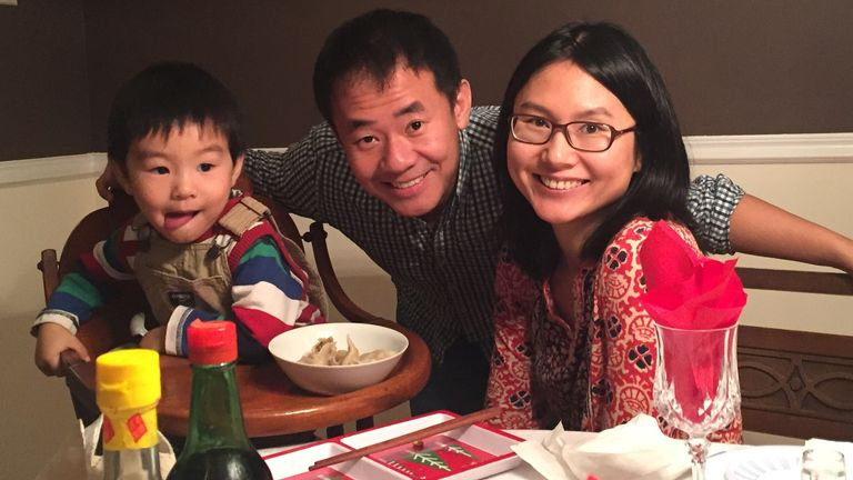 Xiyue Wang, a naturalized American citizen from China, arrested in Iran last August while researching Persian history for his doctoral thesis at Princeton University, is shown with his wife and son