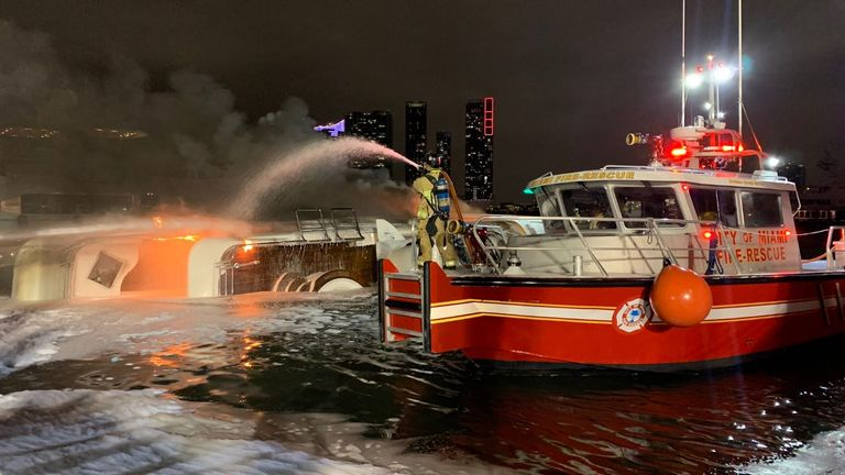 The crew used fireboats to douse the blaze. Pic. Twitter/@CityofMiamiFire