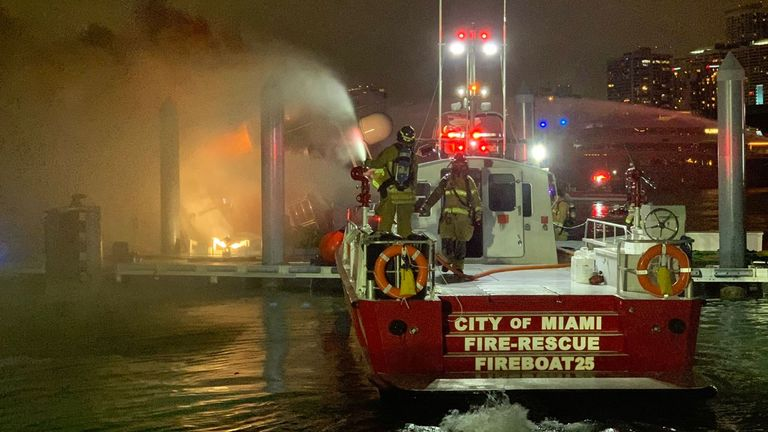 The boat was said to be worth around £5.4m. Pic. Twitter/@CityofMiamiFire