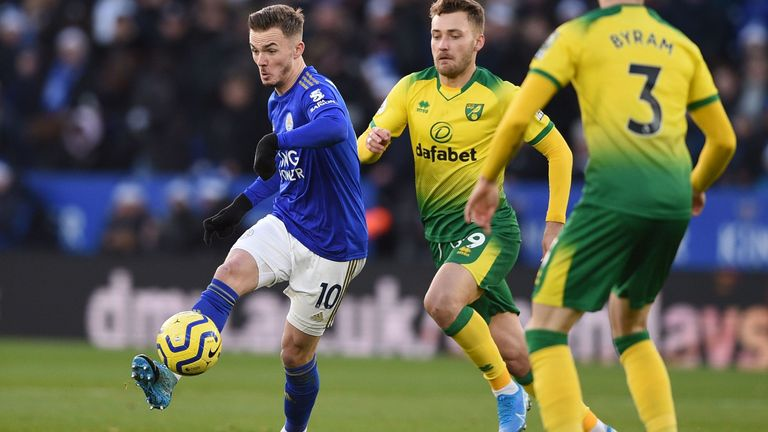 James Maddison in action vs Norwich City