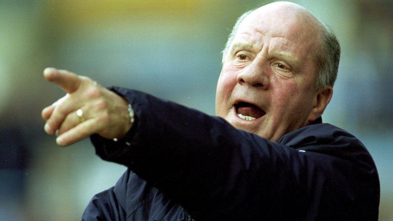 31 Mar 2001 : Jim Smith, manager of Derby County, watches his side go down 2-0 in the FA Carling Premiereship match against Coventry City at Highfield Road, Coventry.