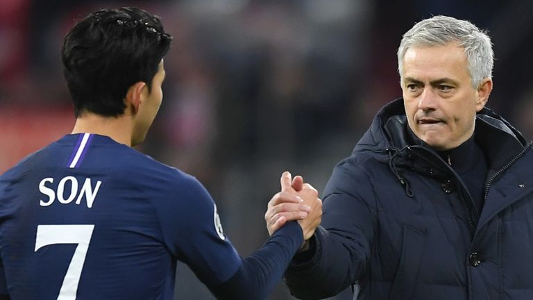 Jose Mourinho and Heung-min Son