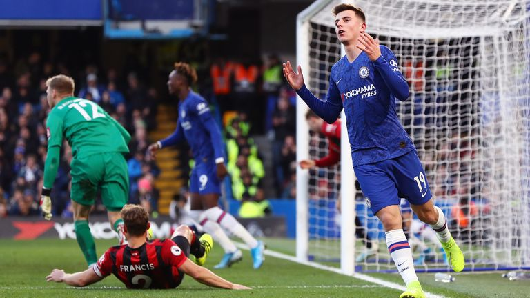 Mason Mount of Chelsea reacts after missing a chance