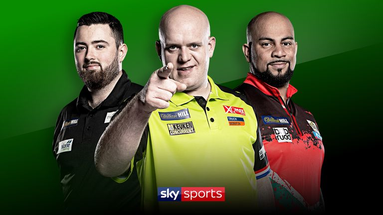 Michael van Gerwen, Luke Humphries and Devon Petersen