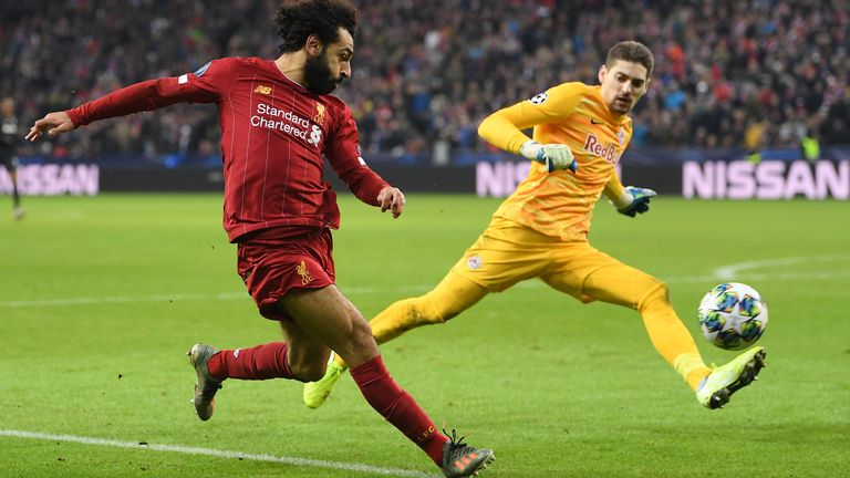 Mohamed Salah scores Liverpool's second against Red Bull Salzburg