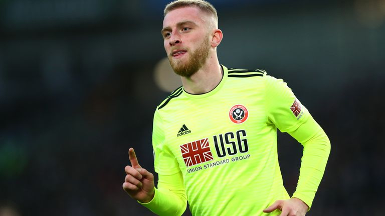 Oli McBurnie celebrates his goal vs Brighton
