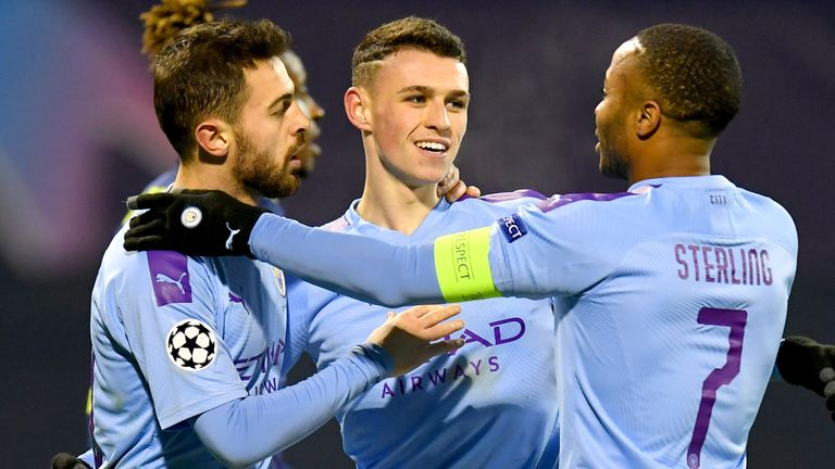 Phil Foden celebrates his goal against Dinamo Zagreb