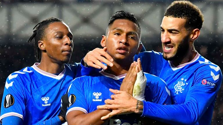 Alfredo Morelos celebrates after giving Rangers the lead against Young Boys