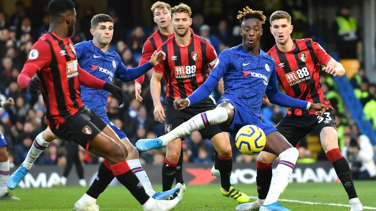 Tammy Abraham takes a shot on goal during Chelsea vs Bournemouth