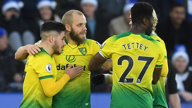 Teemu Pukki gives Norwich the lead against Leicester
