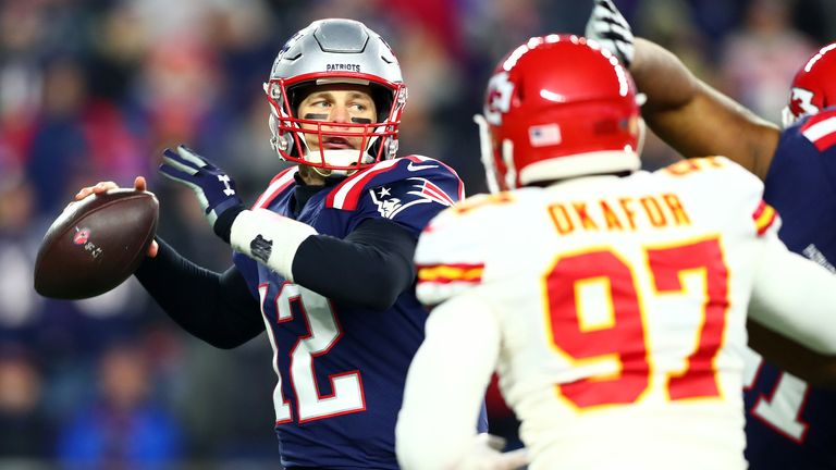 FOXBOROUGH, MASSACHUSETTS - DECEMBER 08: Tom Brady #12 of the New England Patriots looks to pass during the first half against the Kansas City Chiefs in the game at Gillette Stadium on December 08, 2019 in Foxborough, Massachusetts. (Photo by Adam Glanzman/Getty Images)