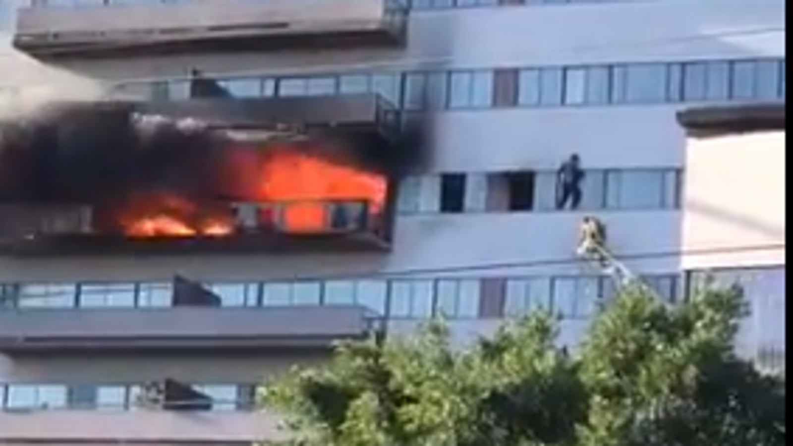 LA high-rise building on fire - amid reports residents 'forced to jump'