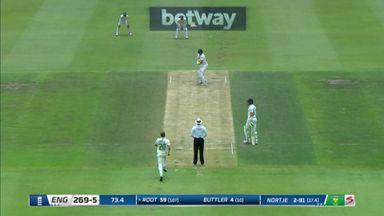 This time, he's out! Root goes for 59