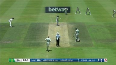 Elgar caught and bowled by Stokes!