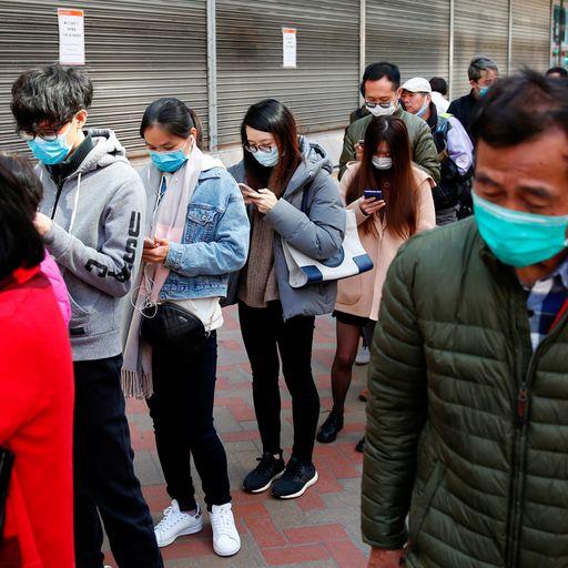 Coronavirus: Masks 'going for £125' as demand grows in Hong Kong