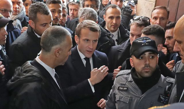 Emmanuel Macron filmed shouting at security guards during Jerusalem church visit