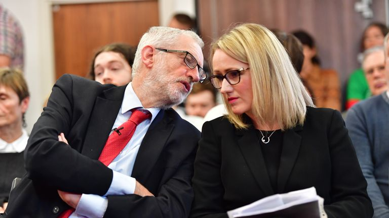 LANCASTER, ENGLAND - NOVEMBER 15: Labour leader Jeremy Corbyn and Shadow Secretary of State for BEIS Rebecca Long-Bailey wait to address the audience at the University of Lancaster on November 15, 2019 in Lancaster, England. The Labour leader has announced a major new digital infrastructure policy including free broadband for all. (Photo by Anthony Devlin/Getty Images)