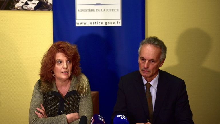 Prosecutor Laure Beccuau and deputy director of the regional judicial police Philippe Bugeaud (R) hold a press conference at Creteils courthouse, on January 4, 2020 a day after a knife-wielding man killed one person and injured at least two others in a nearby park of the south of Paris' suburban city of Villejuif, before being shot dead by police. (Photo by MARTIN BUREAU / AFP) (Photo by MARTIN BUREAU/AFP via Getty Images)