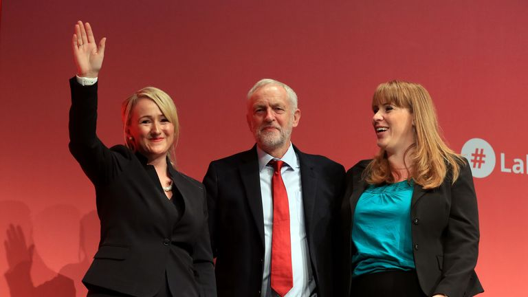 Rebecca Long-Bailey, Shadow Secretary of State for Business, Energy and Industrial Strategy, with party leader Jeremy Corbyn and Angela Rayner, Shadow Education Secretary (right) after addressing the Labour Party annual conference at the Brighton Centre, Brighton.