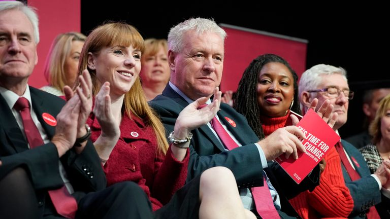 BIRMINGHAM, ENGLAND - NOVEMBER 21: Shadow Chancellor John McDonnell, Shadow Education Secretary Angela Rayner, Party Chairman Ian Lavery and Shadow Women's Minister Dawn Butler look on as Labour leader Jeremy Corbyn speaks during the launch of the party's election manifesto at Birmingham City University on November 21, 2019 in Birmingham, England. (Photo by Christopher Furlong/Getty Images)