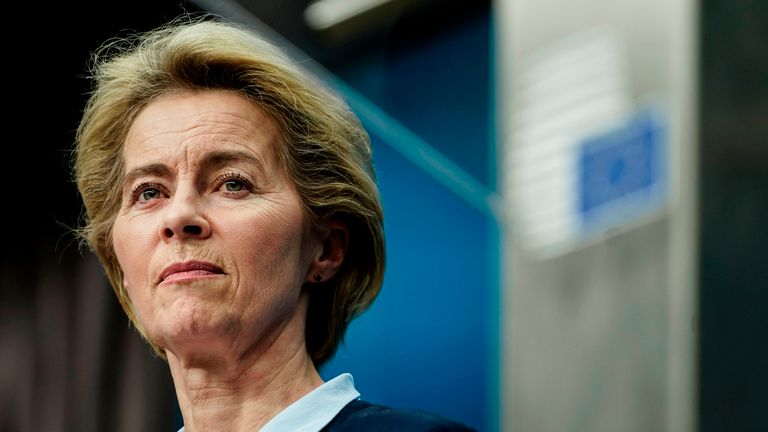 Ursula von der Leyen, President of the European Commission, speaks during a press conference at the European Union Summit at the Europa Building in Brussels on December 13, 2019. (Photo by Kenzo TRIBOUILLARD / AFP) (Photo by KENZO TRIBOUILLARD / AFP via Getty Images)