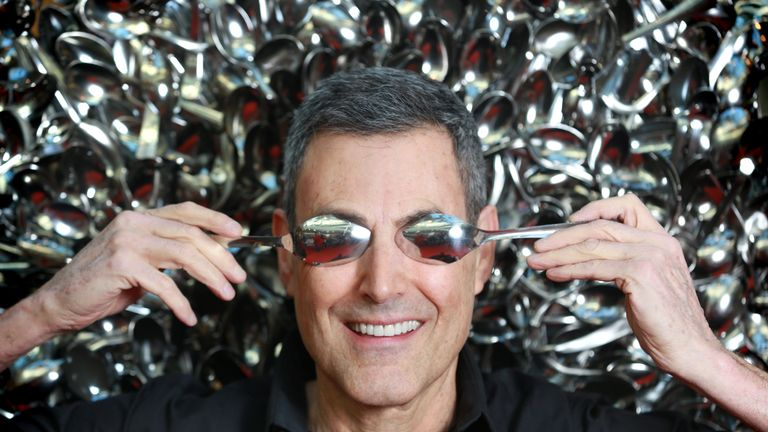 EDITORIAL USE ONLYUri Geller leads a spoon bending master class during the Kelloggs breakfast at Westfield London Shopping Centre, Shepherds Bush. PRESS ASSOCIATION Photo. Picture date: Saturday, January 24 2015. The event was held as part of the Kelloggs latest on pack promotion campaign where you can claim a free, personalised spoon by collecting three packs of cereal. Members of the public were invited to sit on a custom-made throne of spoons, inspired by the television show Game of Thrones and made from more than 2,000 spoons  some of which were gifted to Uri over the years by celebrity friends such as John Lennon, Mick Jagger and Elizabeth Taylor. Photo credit should read: Matt Alexander/PA Wire