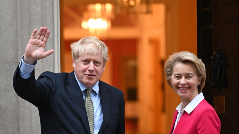 Prime Minister Boris Johnson greets EU Commission president Ursula von der Leven ahead of a meeting in Downing Street, London.