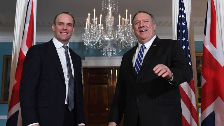 US Secretary of State Mike Pompeo (R) stands with Britain's Foreign Secretary and First Secretary of State Dominic Raab as they meet at the State Department in Washington, DC on January 8, 2020. (Photo by Eric BARADAT / AFP) (Photo by ERIC BARADAT/AFP via Getty Images)