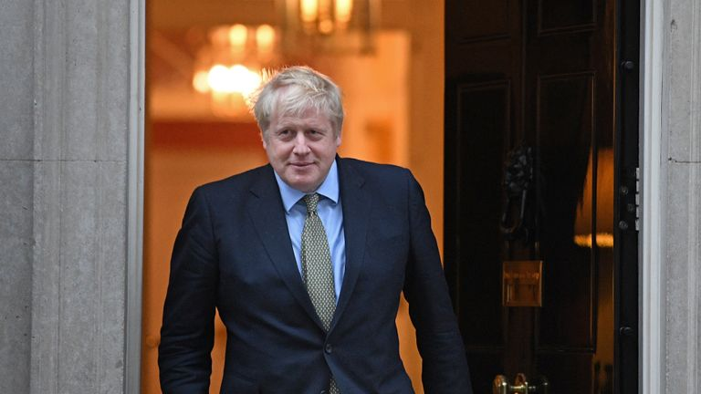 Prime Minister Boris Johnson before greeting EU Commission president Ursula von der Leyen ahead of a meeting in Downing Street, London.