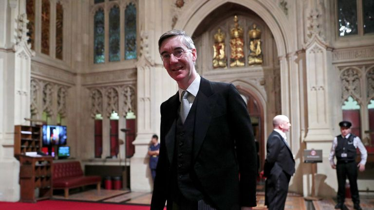 LONDON, ENGLAND - DECEMBER 19:  Leader of the House of Commons, Jacob Rees-Mogg arrives ahead of the State Opening of Parliament at the Houses of Parliamenton December 19, 2019 in London, England. In the second Queen's speech in two months, Queen Elizabeth II will unveil the majority Conservative government's legislative programme to Members of Parliament and Peers in The House of Lords.  (Photo by Hannah McKay - WPA Pool/Getty Images)