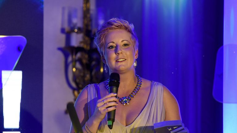 LONDON, ENGLAND - JUNE 08:  Winner of the Politician Award Hannah Bardell SNP MP on stage at the 2018 Diva Awards at The Waldorf Hilton Hotel on June 8, 2018 in London, England.  (Photo by Antony Jones/Getty Images for Diva Magazine)